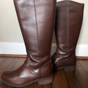 Women's Brown Leather Calf-High Uggs